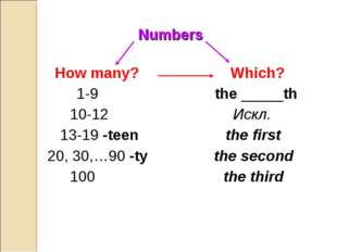 Numbers How many? Which? 1-9 the _____th 10-12 Искл. 13-19 -teen the first 20