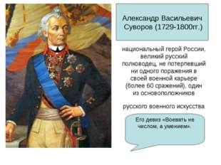 национальный геройРоссии, великий русский полководец, не потерпевший ни одно