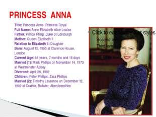 PRINCESS ANNA Title: Princess Anne, Princess Royal Full Name: Anne Elizabeth