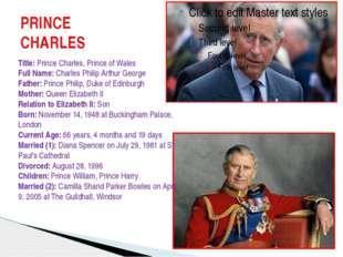 PRINCE CHARLES Title: Prince Charles, Prince of Wales Full Name: Charles Phil