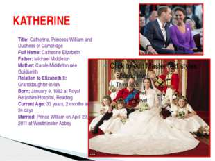 KATHERINE Title: Catherine, Princess William and Duchess of Cambridge Full Na
