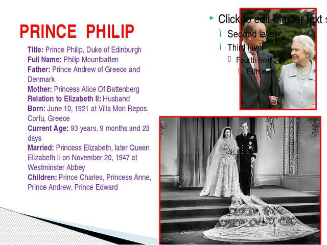 PRINCE PHILIP Title: Prince Philip, Duke of Edinburgh Full Name: Philip Mount...