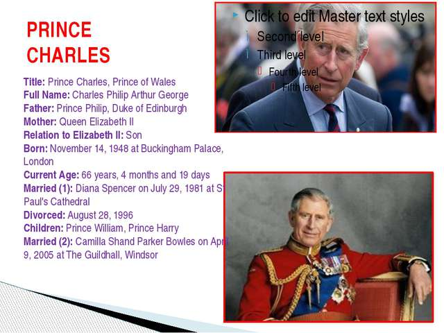 PRINCE CHARLES Title: Prince Charles, Prince of Wales Full Name: Charles Phil...