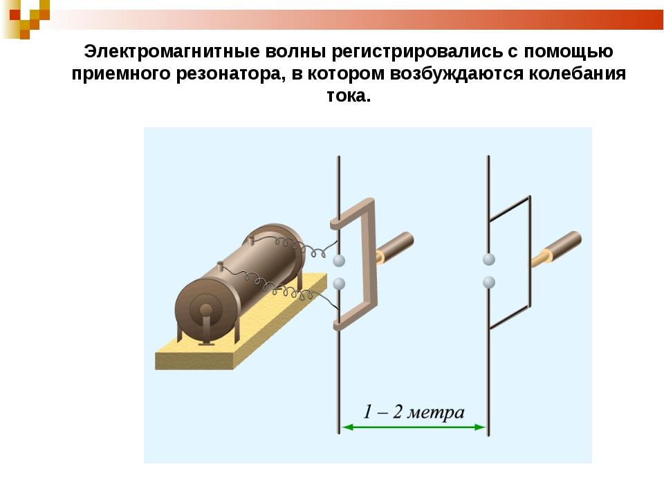 Электромагнитные волны регистрировались с помощью приемного резонатора, в кот...