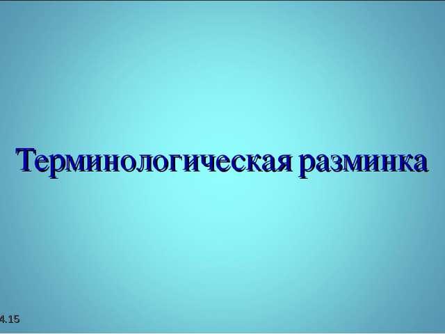 Терминологическая разминка *
