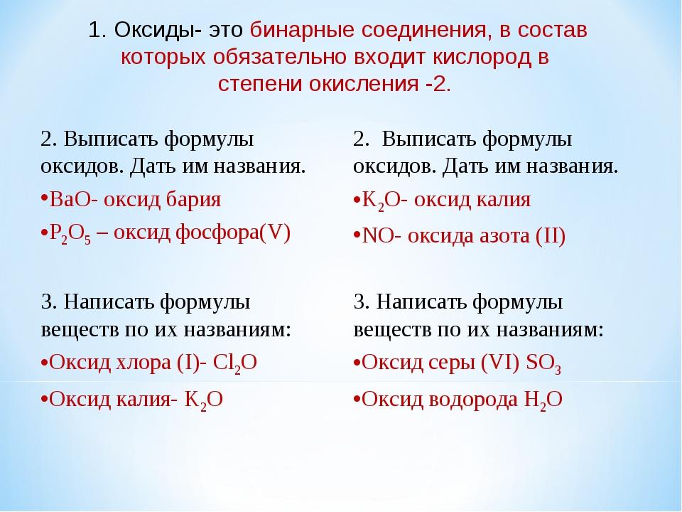 1. Оксиды- это бинарные соединения, в состав которых обязательно входит кисл...