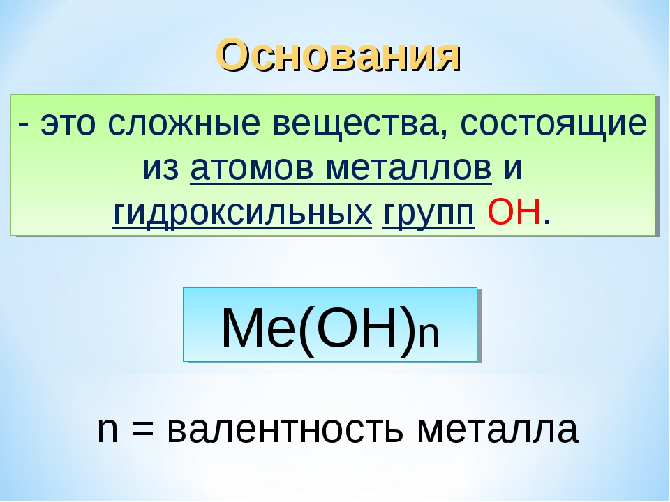 Основания - это сложные вещества, состоящие из атомов металлов и гидроксильны...