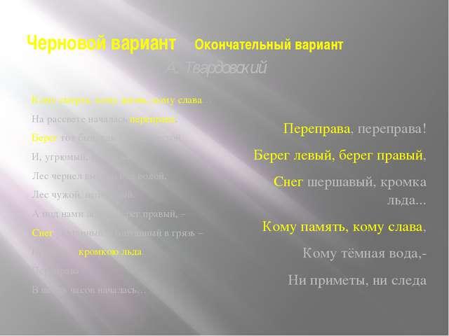 Черновой вариант Окончательный вариант А. Твардовский Переправа, переправа! Б...