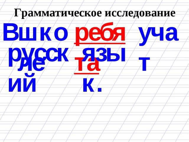 Грамматическое исследование ребята В школе учат русский язык.