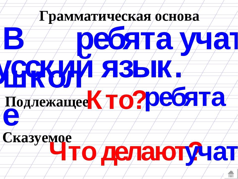 Грамматическая основа ребята учат В школе русский язык. Подлежащее Сказуемое...