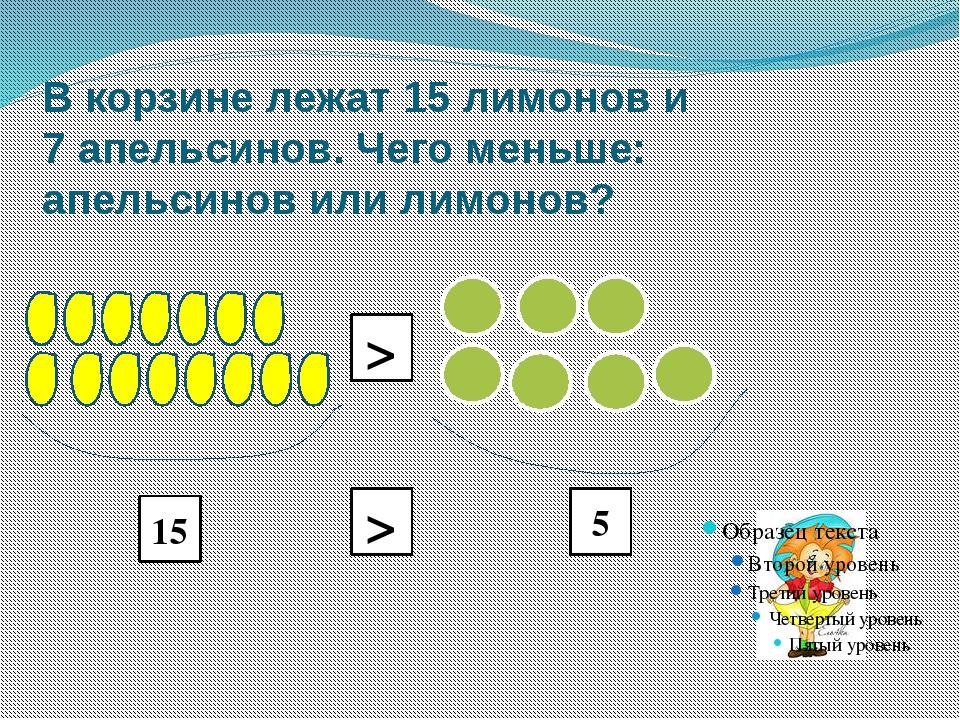 В корзине лежат 15 лимонов и 7 апельсинов. Чего меньше: апельсинов или лимоно...
