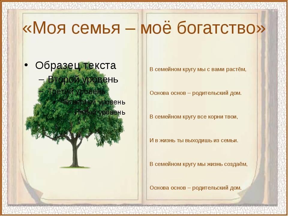 «Моя семья – моё богатство» В семейном кругу мы с вами растём, Основа основ –...