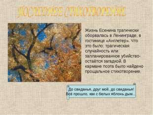 Жизнь Есенина трагически оборвалась в Ленинграде, в гостинице «Англетер». Чт