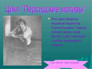 Этот цикл является вершиной творчества Сергея Есенина. Главная героиня цикла