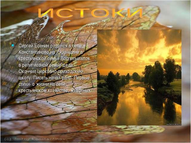 Сергей Есенин родился в селе Константиново на Рязанщине в крестьянской семье...