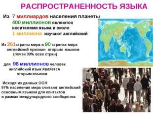РАСПРОСТРАНЕННОСТЬ ЯЗЫКА Из 7 миллиардов населения планеты 400 миллионов явля