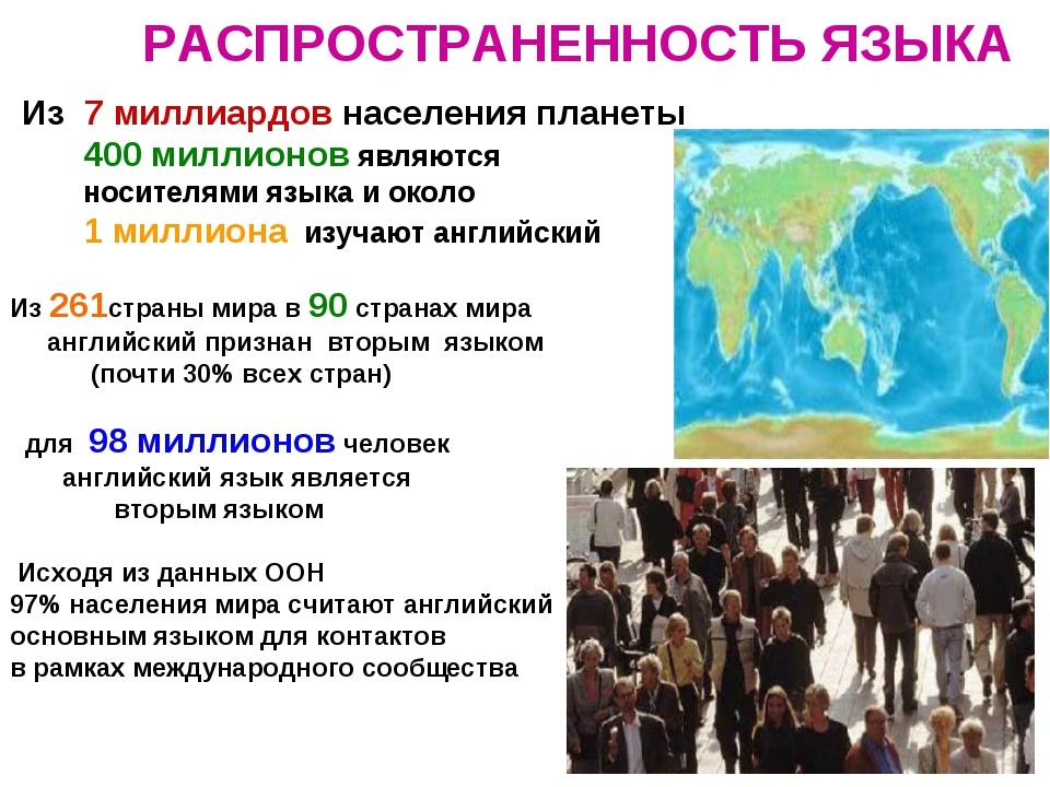 РАСПРОСТРАНЕННОСТЬ ЯЗЫКА Из 7 миллиардов населения планеты 400 миллионов явля...