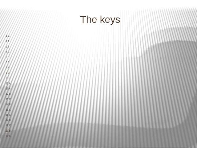 The keys 1.C 2.A 3.B 4.C 5.B 6.B 7.A 8.B 9.B 10.A 11.A 12.B 13.C 14.B 15.C 16...