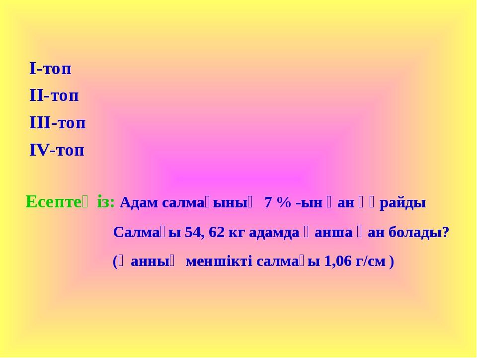 Есептеңіз: Адам салмағының 7 % -ын қан құрайды Салмағы 54, 62 кг адамда қанша...