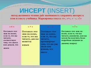 ИНСЕРТ (INSERT)       метод активного чтения даёт возможность сохранить инте