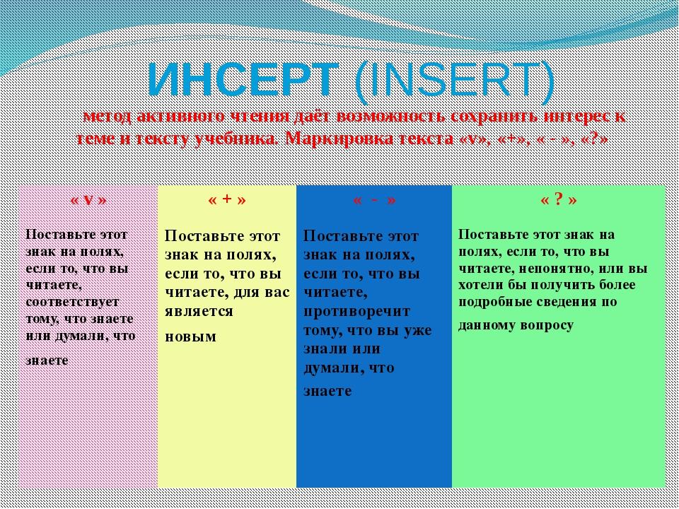 ИНСЕРТ (INSERT)       метод активного чтения даёт возможность сохранить инте...