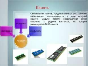 Оперативная память, предназначенная для хранения информации, изготавливается