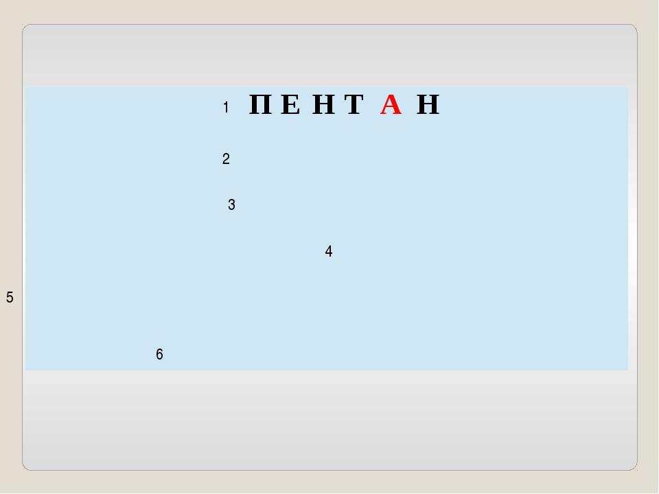 1 2 3 4 5 6 П Е Н Т А Н