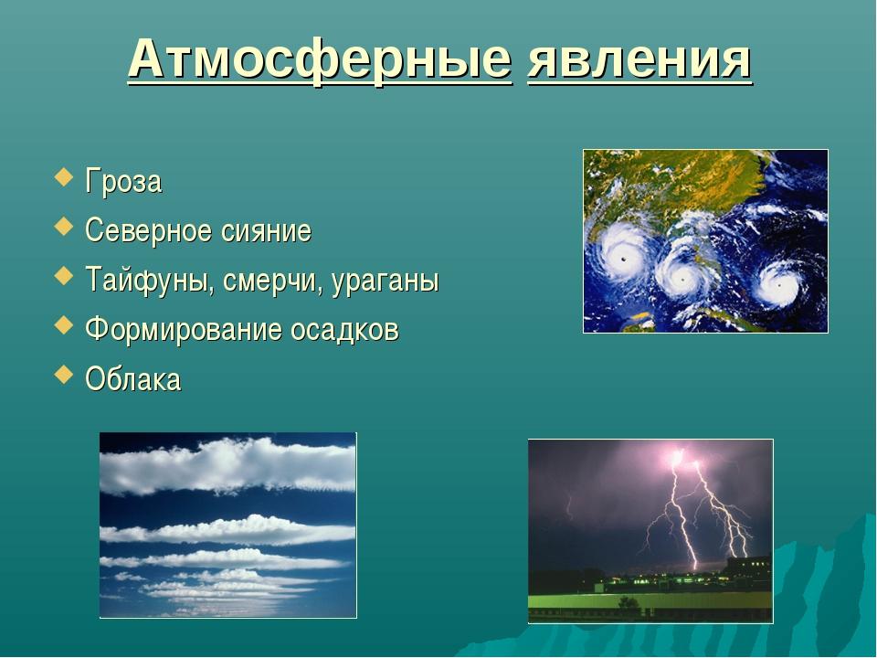 Атмосферные явления Гроза Северное сияние Тайфуны, смерчи, ураганы Формирован...