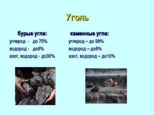 Уголь бурые угли: каменные угли: углерод - до 75% углерод – до 98% водород -