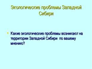 Экологические проблемы Западной Сибири Какие экологические проблемы возникают
