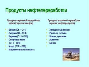 Продукты нефтепереработки Продукты первичной переработки нефти (перегонки неф