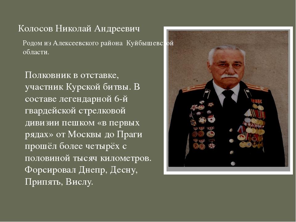 Колосов Николай Андреевич Полковник в отставке, участник Курской битвы. В сос...