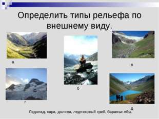 Определить типы рельефа по внешнему виду. Ледопад, кара, долина, ледниковый г