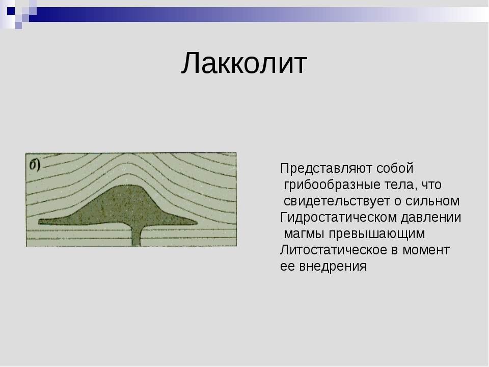 Лакколит Представляют собой грибообразные тела, что свидетельствует о сильном...