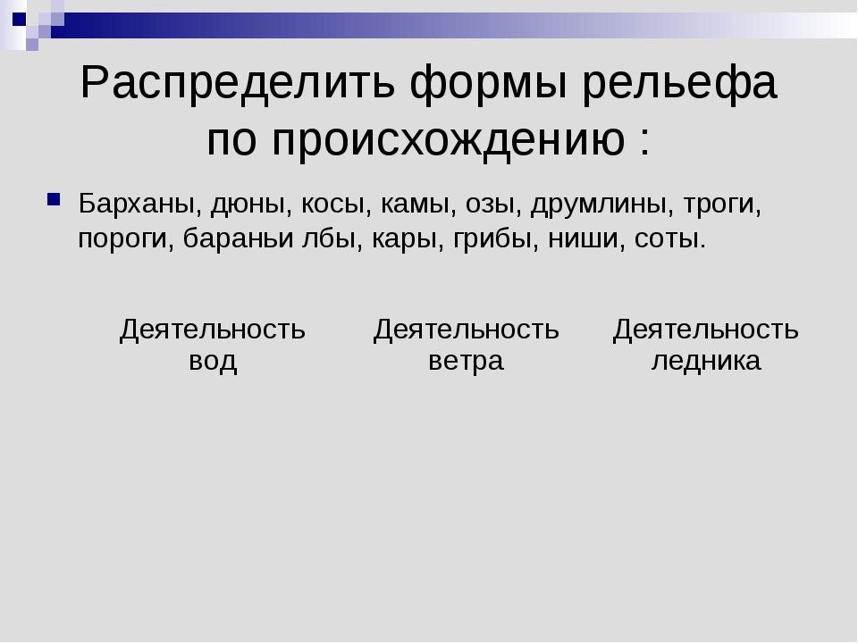 Распределить формы рельефа по происхождению : Барханы, дюны, косы, камы, озы,...