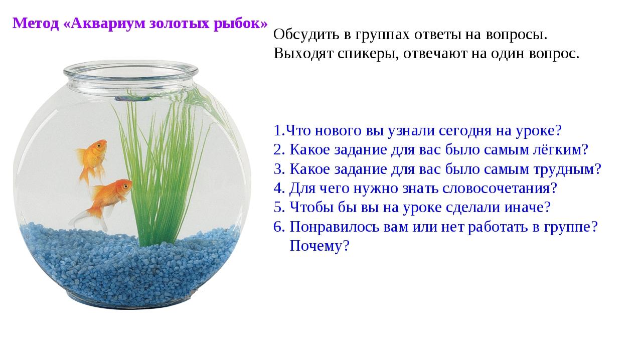 Метод «Аквариум золотых рыбок» Обсудить в группах ответы на вопросы. Выходят...