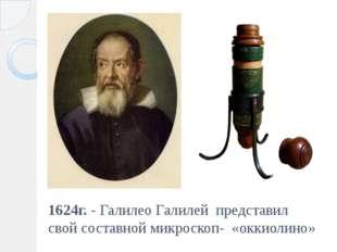 1624г. - Галилео Галилей представил свой составной микроскоп- «оккиолино»