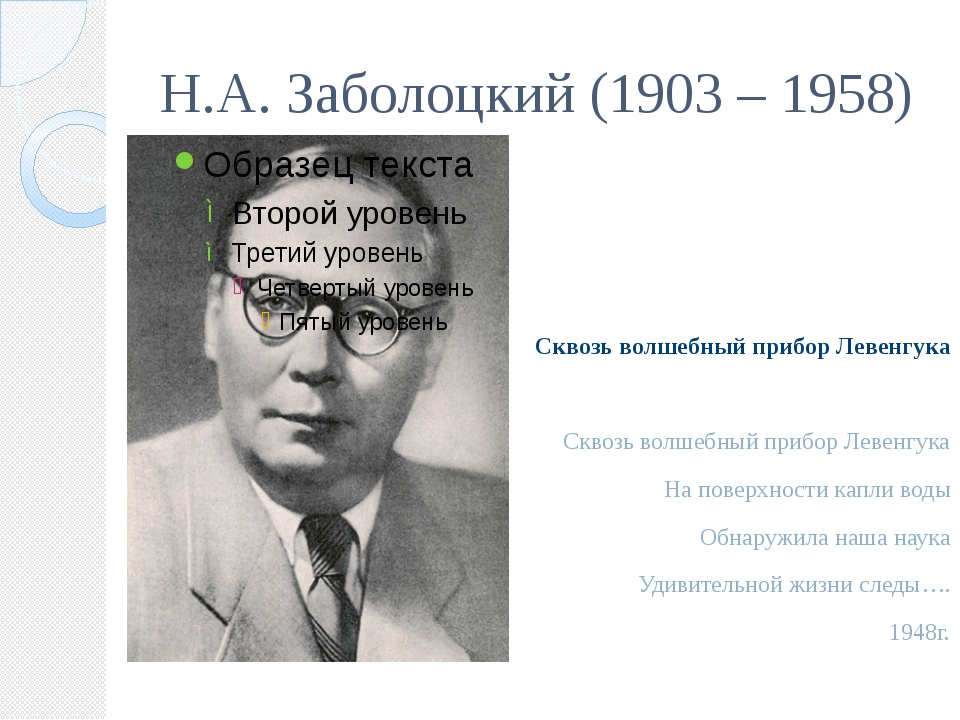 Н.А. Заболоцкий (1903 – 1958) Сквозь волшебный прибор Левенгука Сквозь волшеб...