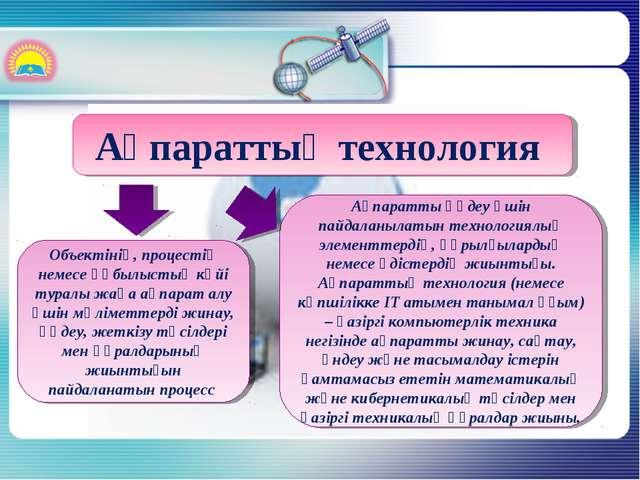 Ақпараттық технология Oбъектінің, процестің немесе құбылыстың күйі туралы жаң...