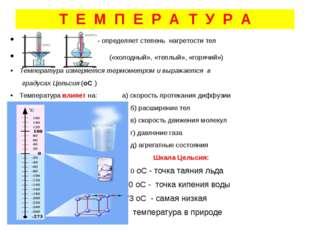Т Е М П Е Р А Т У Р А - определяет степень нагретости тел («холодный», «теплы