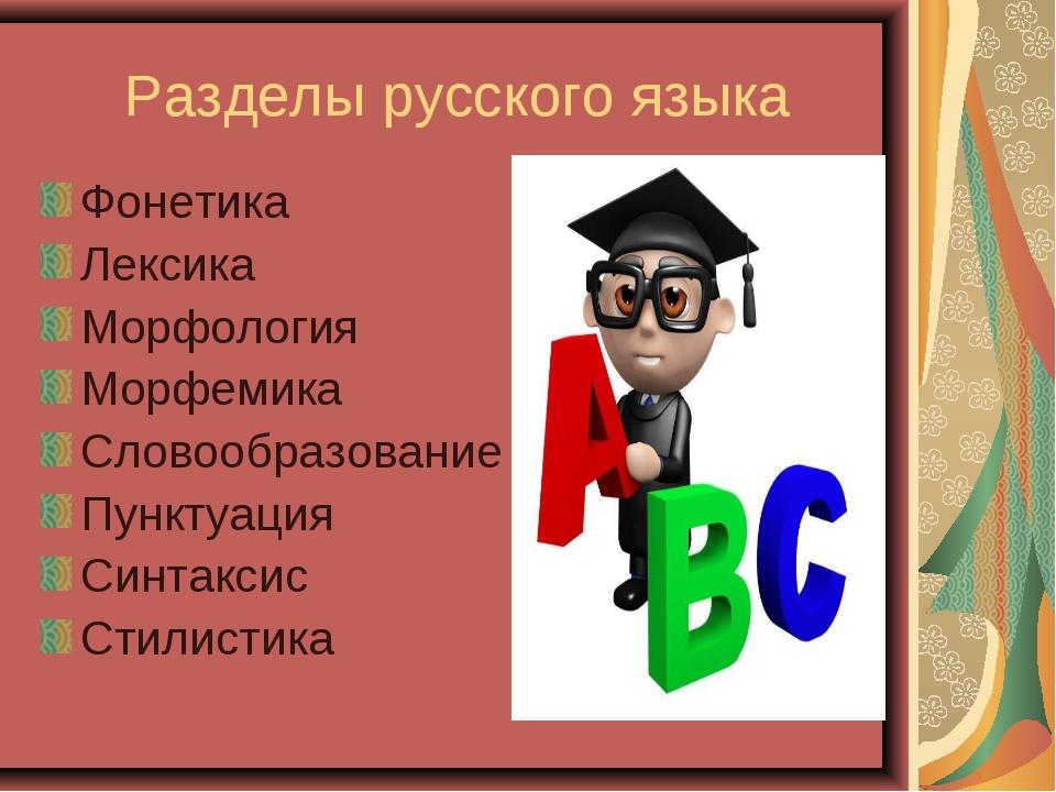 Разделы русского языка Фонетика Лексика Морфология Морфемика Словообразование...