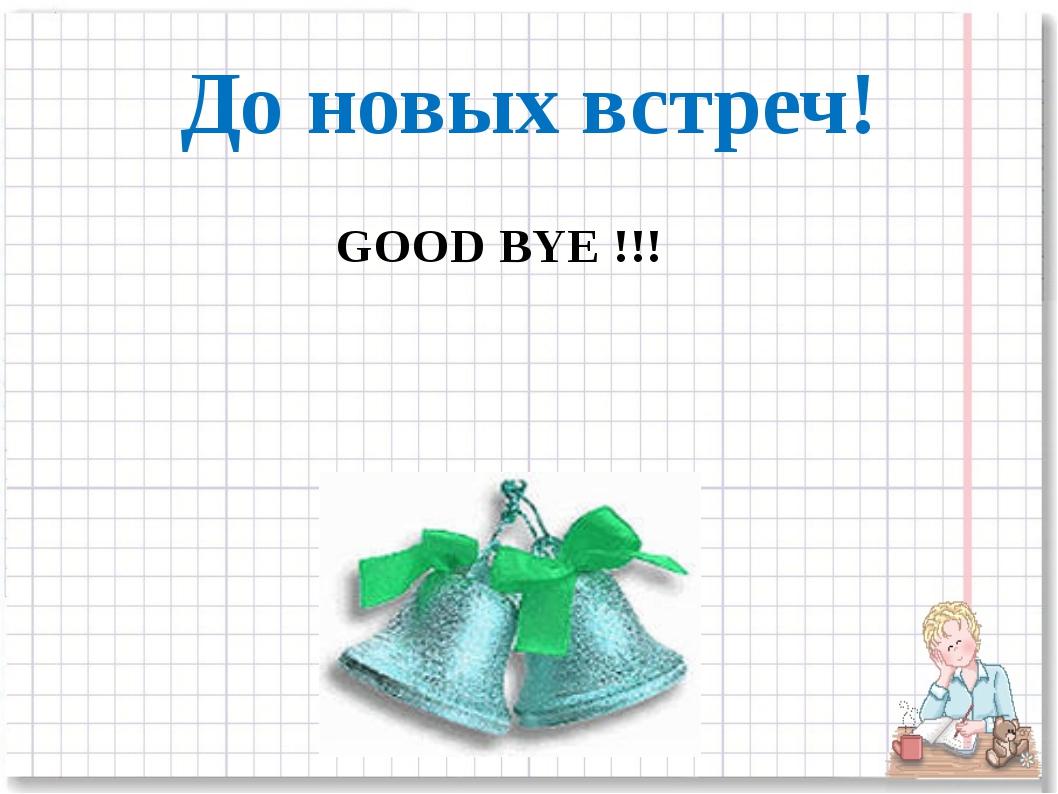 До новых встреч! GOOD BYE !!!