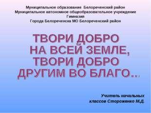 Муниципальное образование Белореченский район Муниципальное автономное общеоб