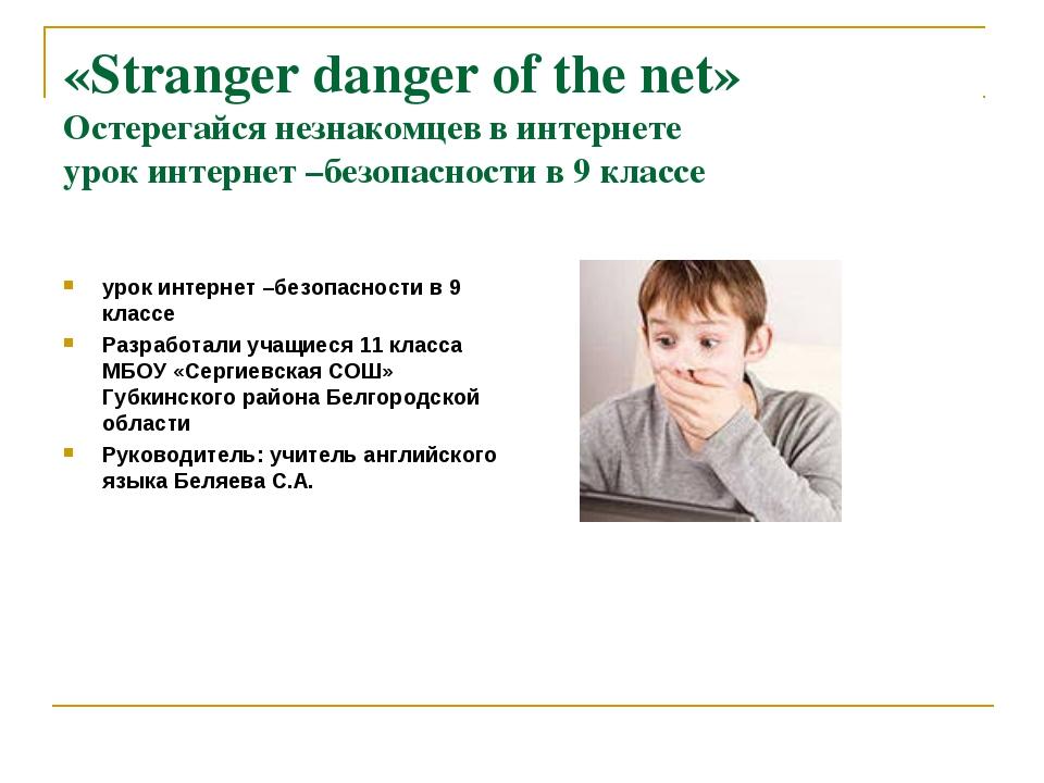 «Stranger danger of the net» Остерегайся незнакомцев в интернете урок интерне...