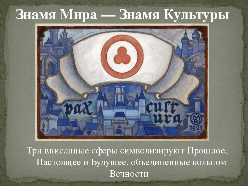 Знамя Мира — Знамя Культуры Три вписанные сферы символизируют Прошлое, Настоя...