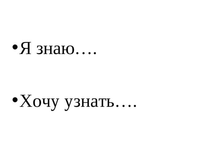 Я знаю…. Хочу узнать….