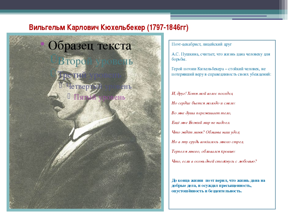 Вильгельм Карлович Кюхельбекер (1797-1846гг) Поэт-декабрист, лицейский друг А...