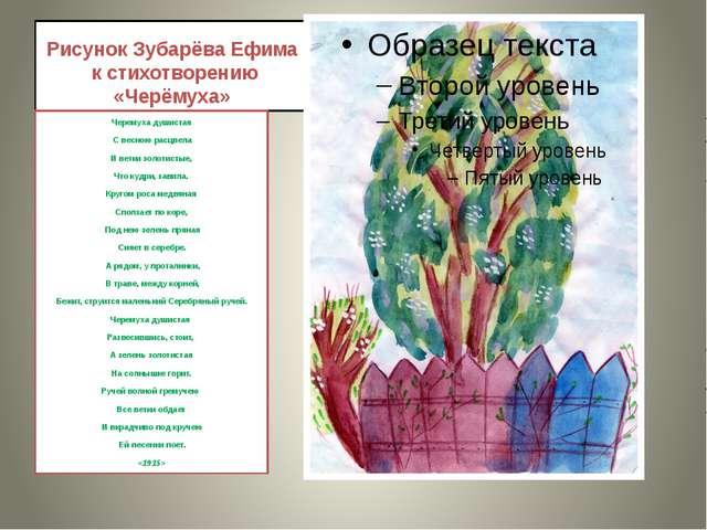 Рисунок Зубарёва Ефима к стихотворению «Черёмуха» Черемуха душистая С весною...