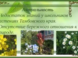 Актуальность Недостаток знаний у школьников о растениях Тамбовского края. Отс
