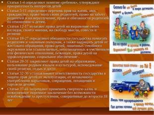 Статьи 1-4 определяют понятие «ребенок», утверждают приоритетность интересов